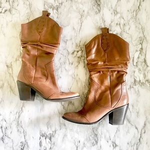 BCBGenaration Leather Slouch Western Style Boots
